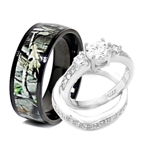 His and Hers 3pcs Titanium Camo 925 STERLING SILVER Engagement Wedding Rings