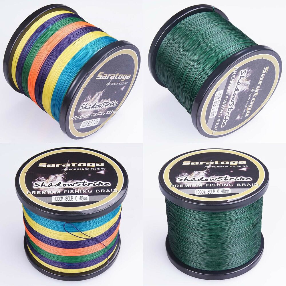 8strands multi color yellow moss green pe dyneema braided for Colored fishing line