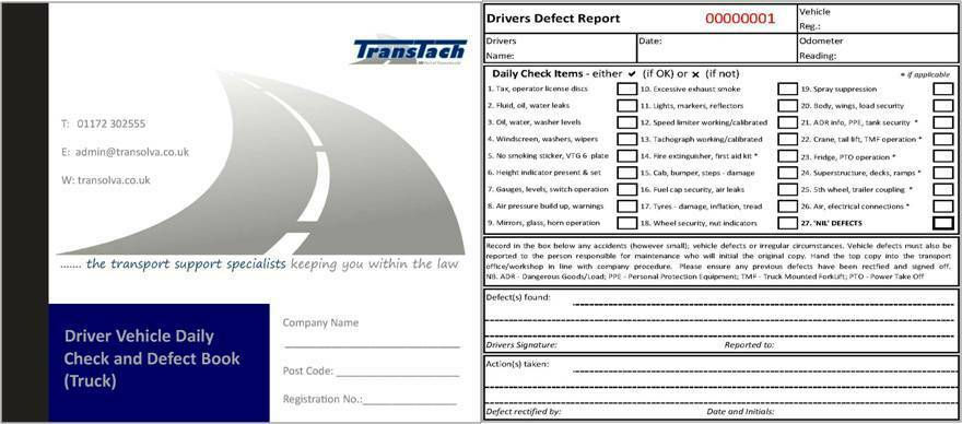 Vehicle Defect Reporting Books