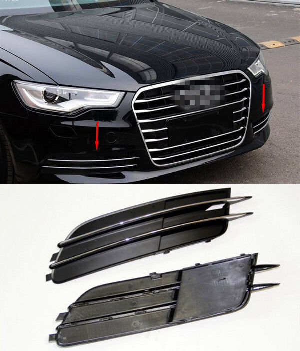 Chrome Front Fog Bumper Grill Replacement Cover Trim For