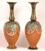 Pair of Doulton Slater Art Nouveau vases - 7.5 inches in height