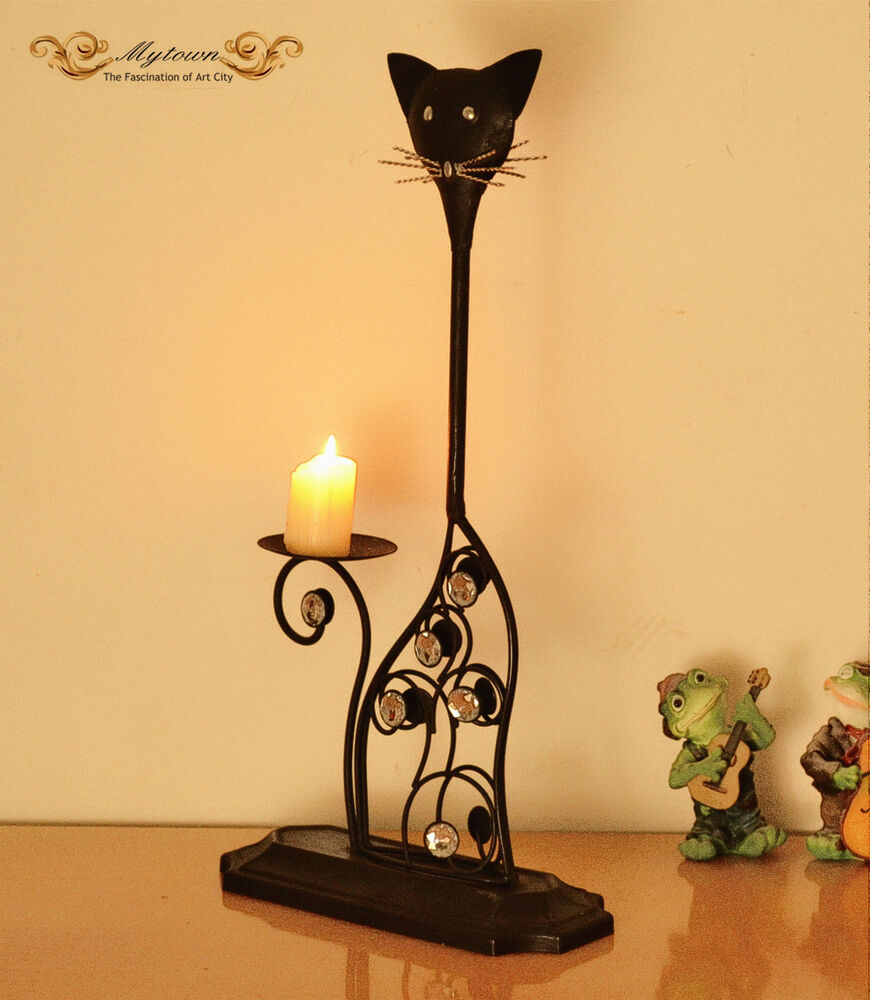 Black Wrought Iron Cat Kitty Table Top Candle Holder Home