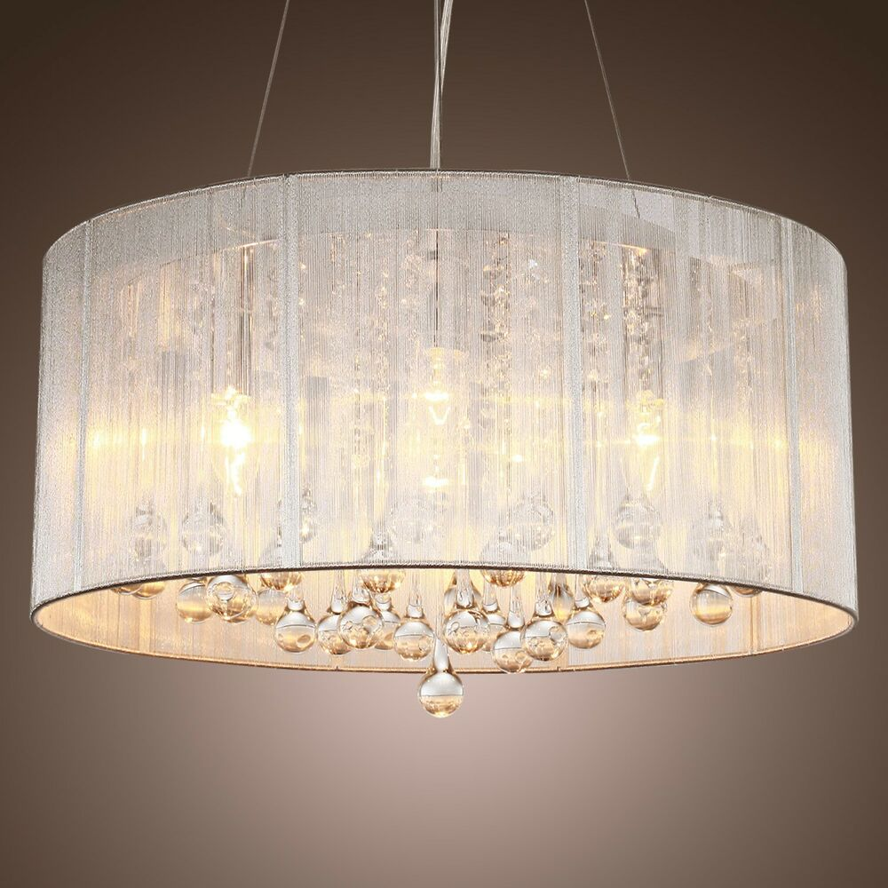 Lamp Shades For Ceiling Lights: New Drum Shade Crystal Ceiling Chandelier Pendant Light
