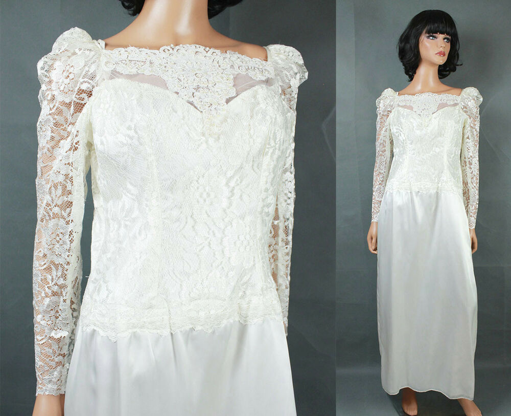 Vintage 80s Wedding Gown Sz M White Long Sleeve Lace Satin