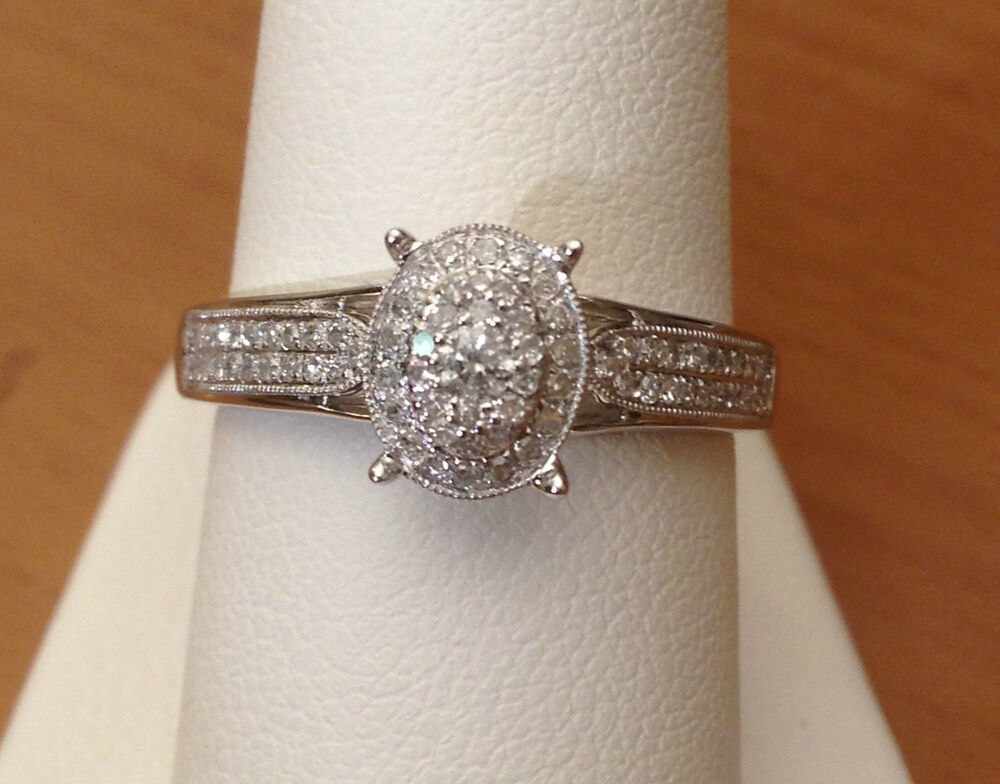 14k White Gold Oval Double Halo Vintage Antique Style Diamond Engagement Ring