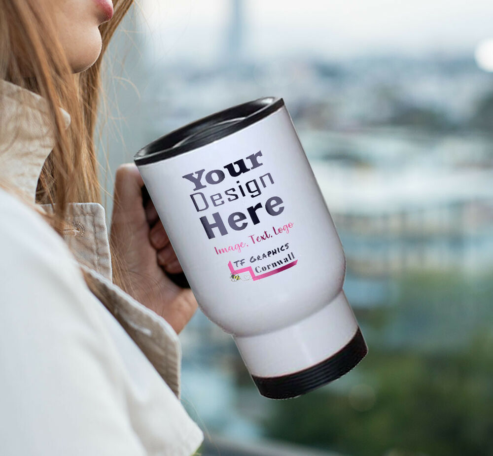 Custom personalised thermos travel mug design your own Design your own mugs uk