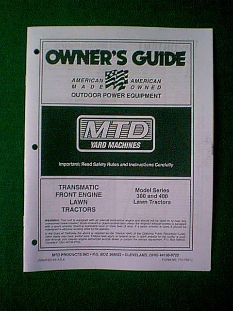 yard man riding mower wiring diagram mtd    yard    machine tractor 300  amp  400 series manual ebay  mtd    yard    machine tractor 300  amp  400 series manual ebay