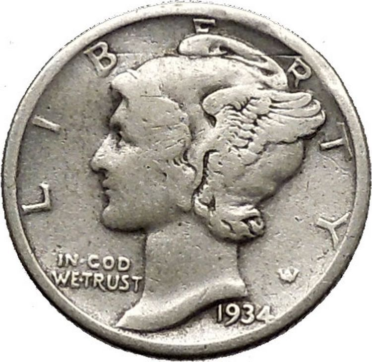 Mercury Winged Liberty Head 1934 Dime United States Silver Coin
