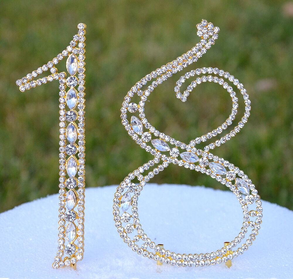 bling wedding cake toppers uk 5 quot rhinestone gold number eighteen bling cake topper 18 11939