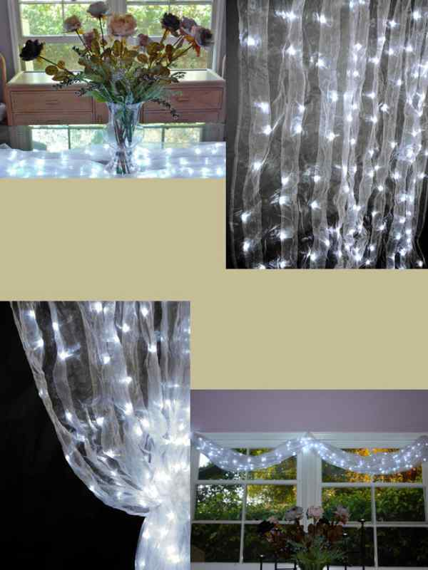 Warm White Organza Wedding Curtain With Led Lights 46