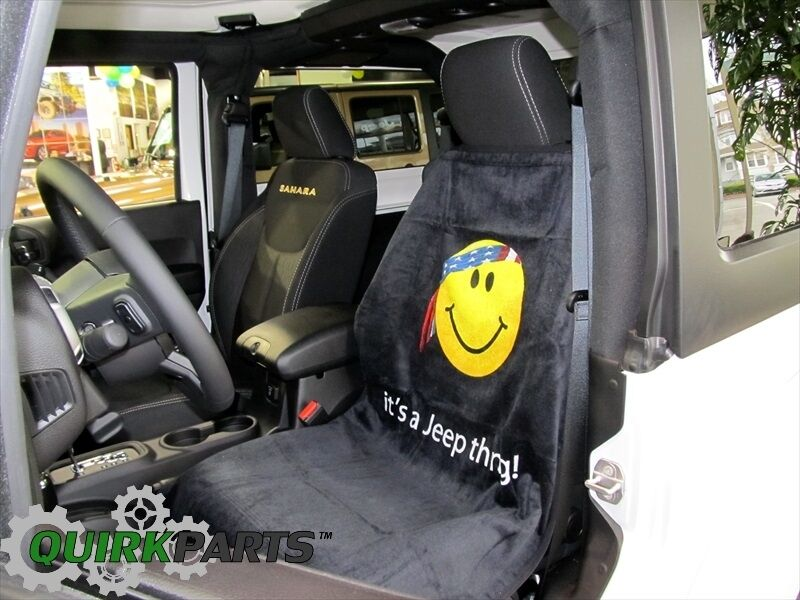 Jeep American Flag Bandana Yellow Smiley Face Front Seat