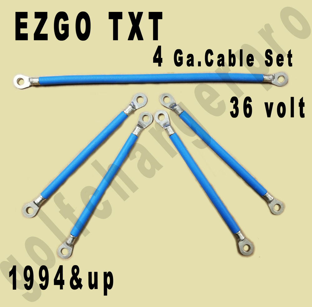 EZGO TXT Golf Cart Car 36 Volt 4 Gauge HEAVY DUTY BLUE Battery Cable Wiring Set | eBay