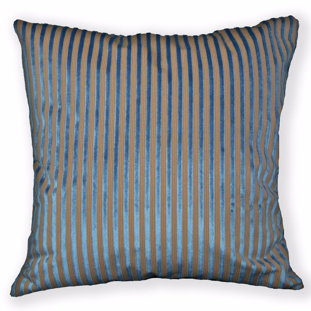 ng21a turquoise blue brown stripe linen cushion cover. Black Bedroom Furniture Sets. Home Design Ideas
