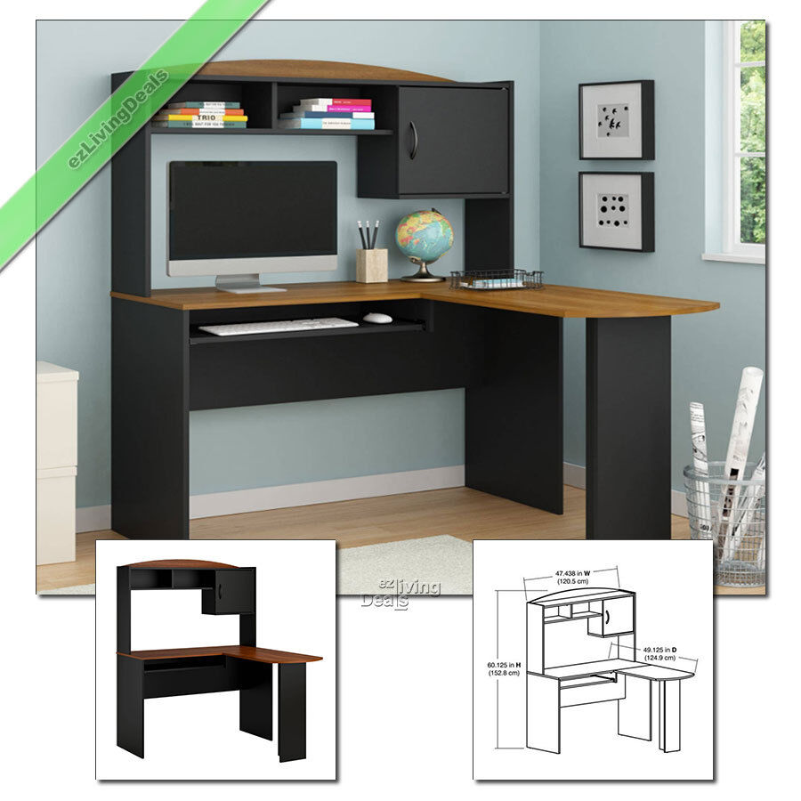 home office desk with hutch l shaped wood corner computer desks black