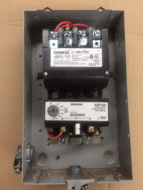 Siemens 14buc32bf heavy duty motor starter 14bu32a w for Manual motor starter with overload protection