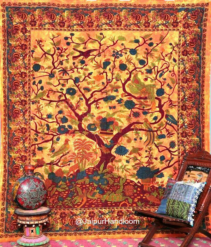 Wall Hanging Art Deco Tapestry : Tree of life tapestry wall hanging indian