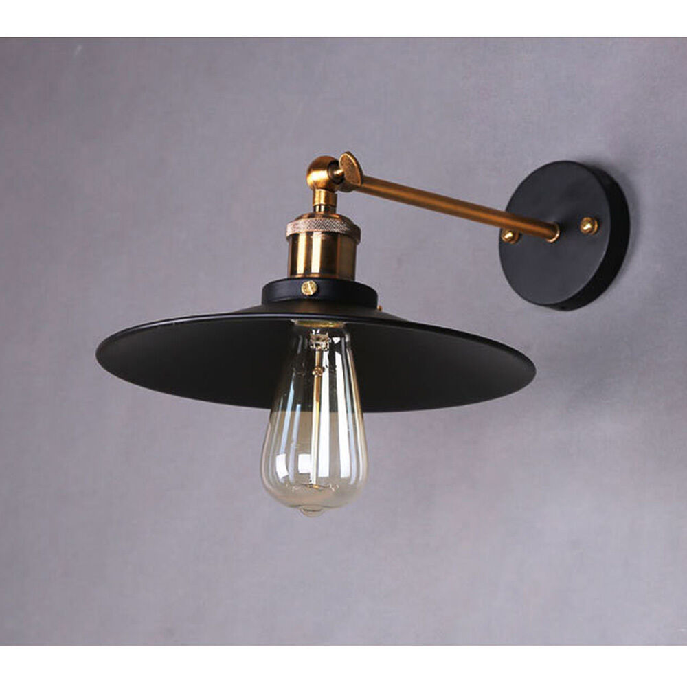 Industrial Retro Wall Light Sconce Chrome Lamp Black