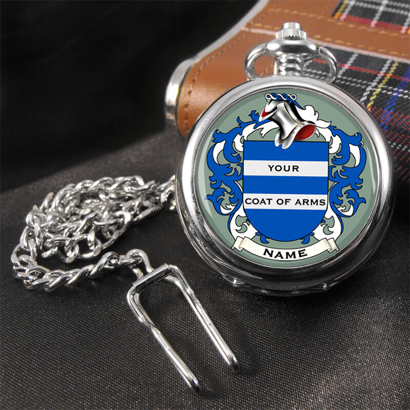 Coat of Arms Family Crest SURNAME Pocket Watch | eBay