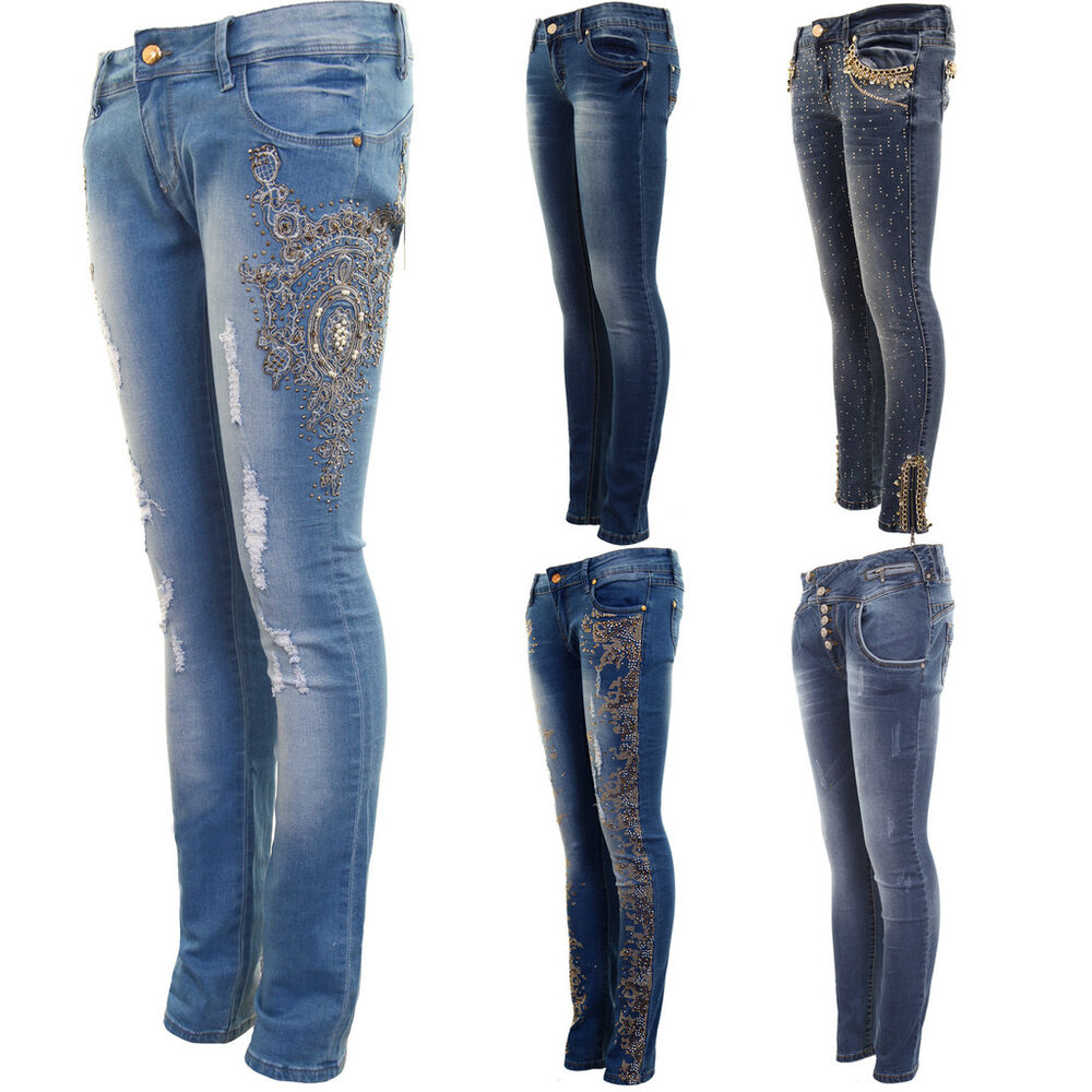 Womens Diamante Ripped Low Rise High Waist Faded Skinny ...
