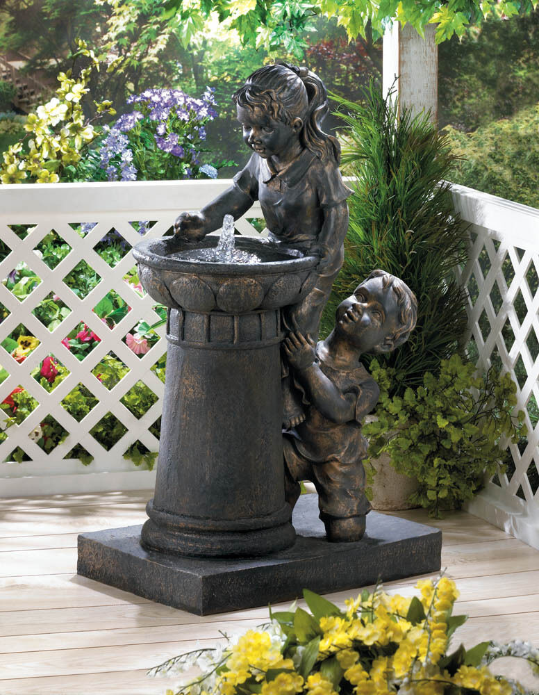 Playtime park water fountain garden yard decor new for Garden ornaments and accessories