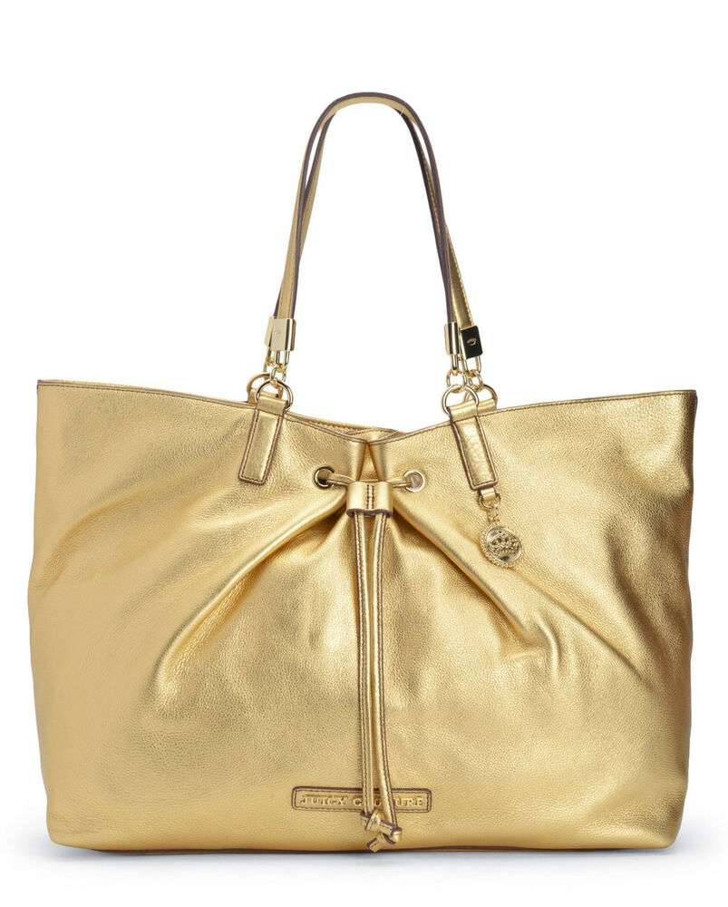 juicy couture handbags robertson drawstring leather tote bag gold nwt rp 328 ebay. Black Bedroom Furniture Sets. Home Design Ideas