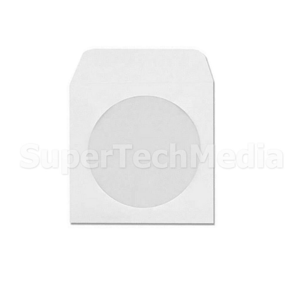 100 cd dvd white paper sleeves with flap clear window