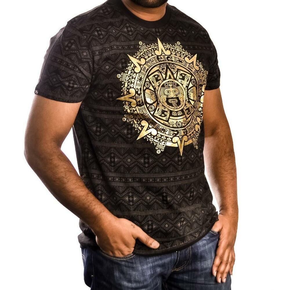 New men 39 s imperious old epic mayan tribal foil print black for Foil print t shirts custom