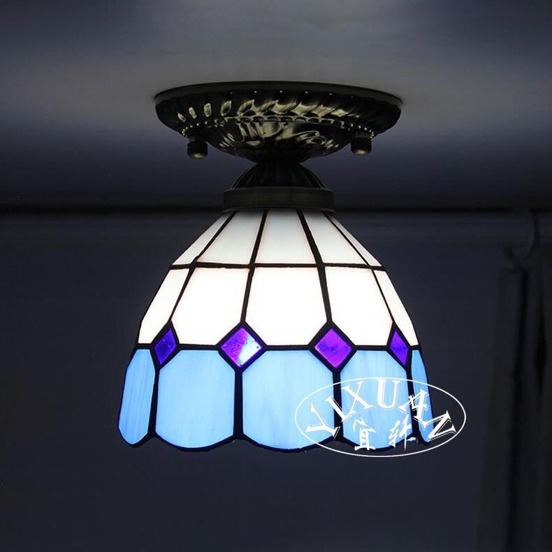 Tiffany Style Flush Mount Stained Glass Single Ceiling