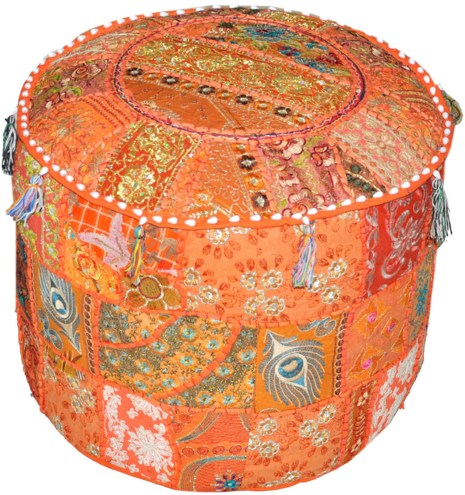 Orange Pouf Ottomans Round Tufted Ottoman Vintage Patch