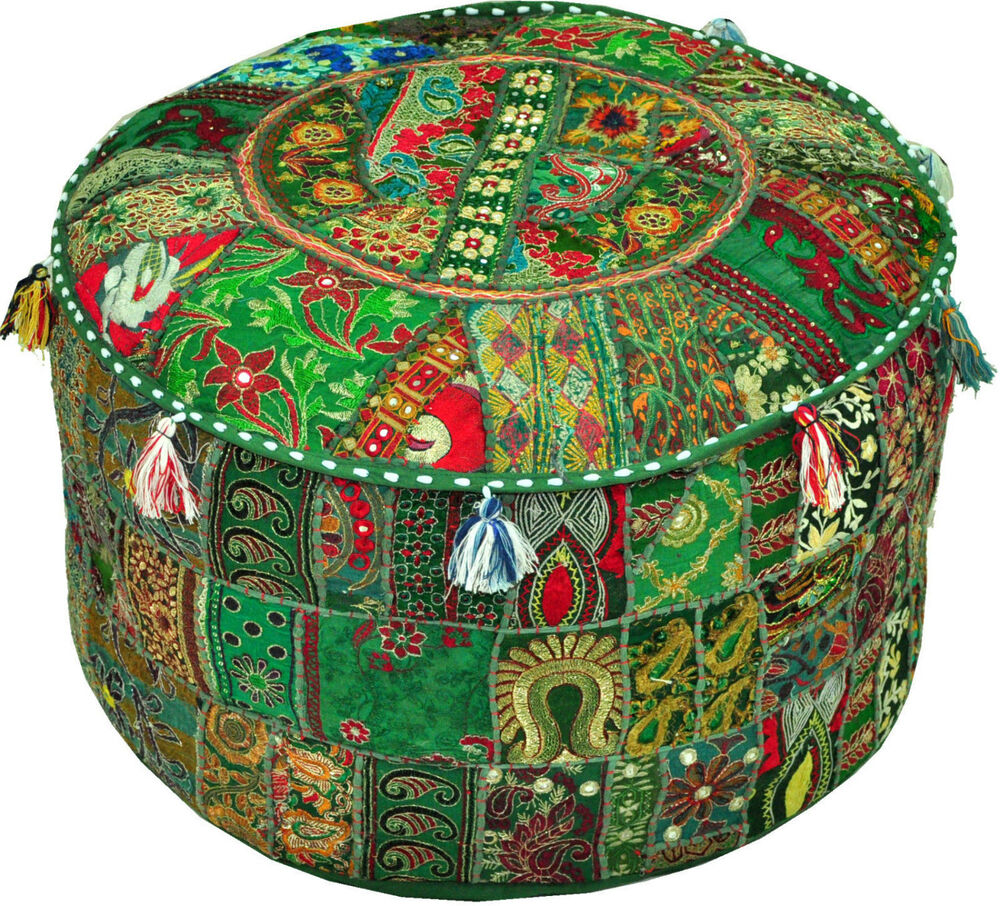 Green Pouf Ottoman Bohemian Embroidered Footstool