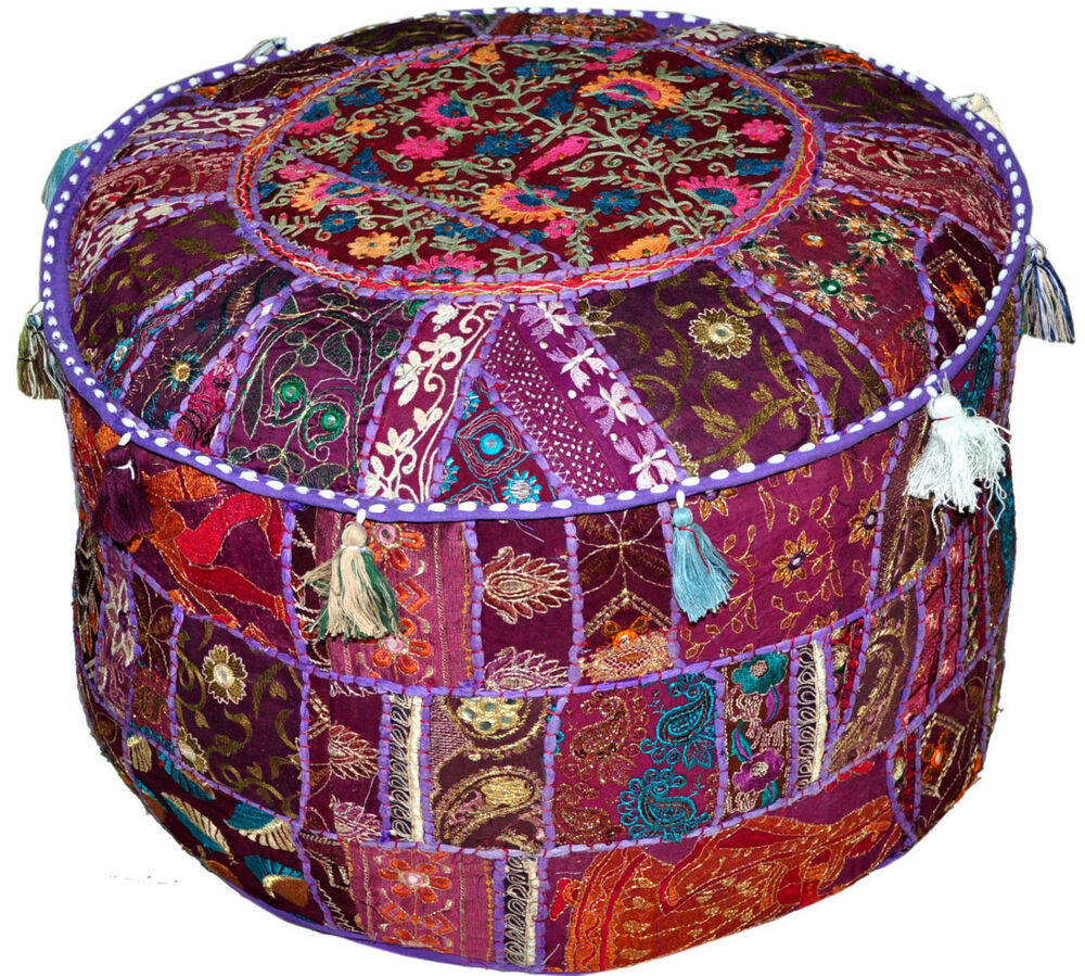 On Sale Purple Vintage Indian Ottoman Stool Cover