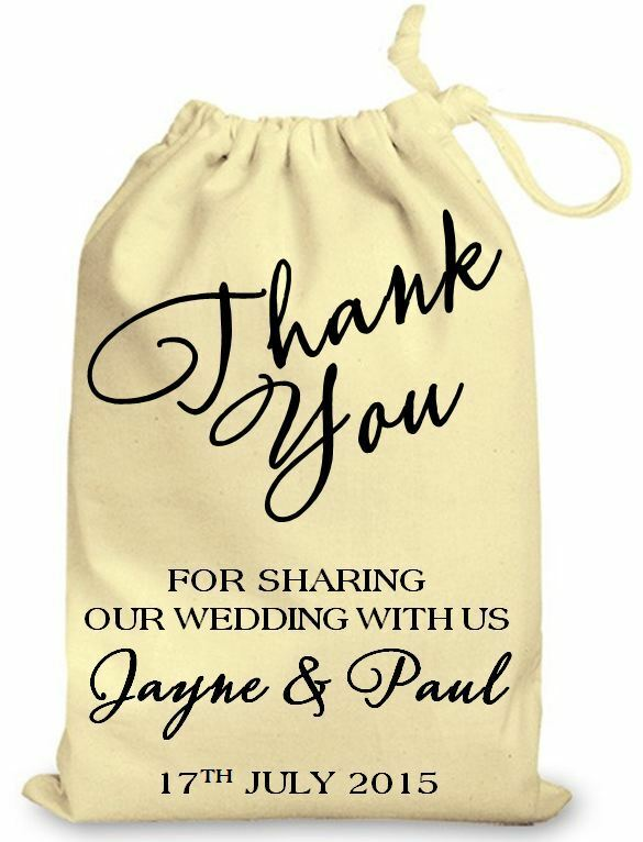 Personalised wedding favour cotton gift bag Thank You Special Day Gift ...