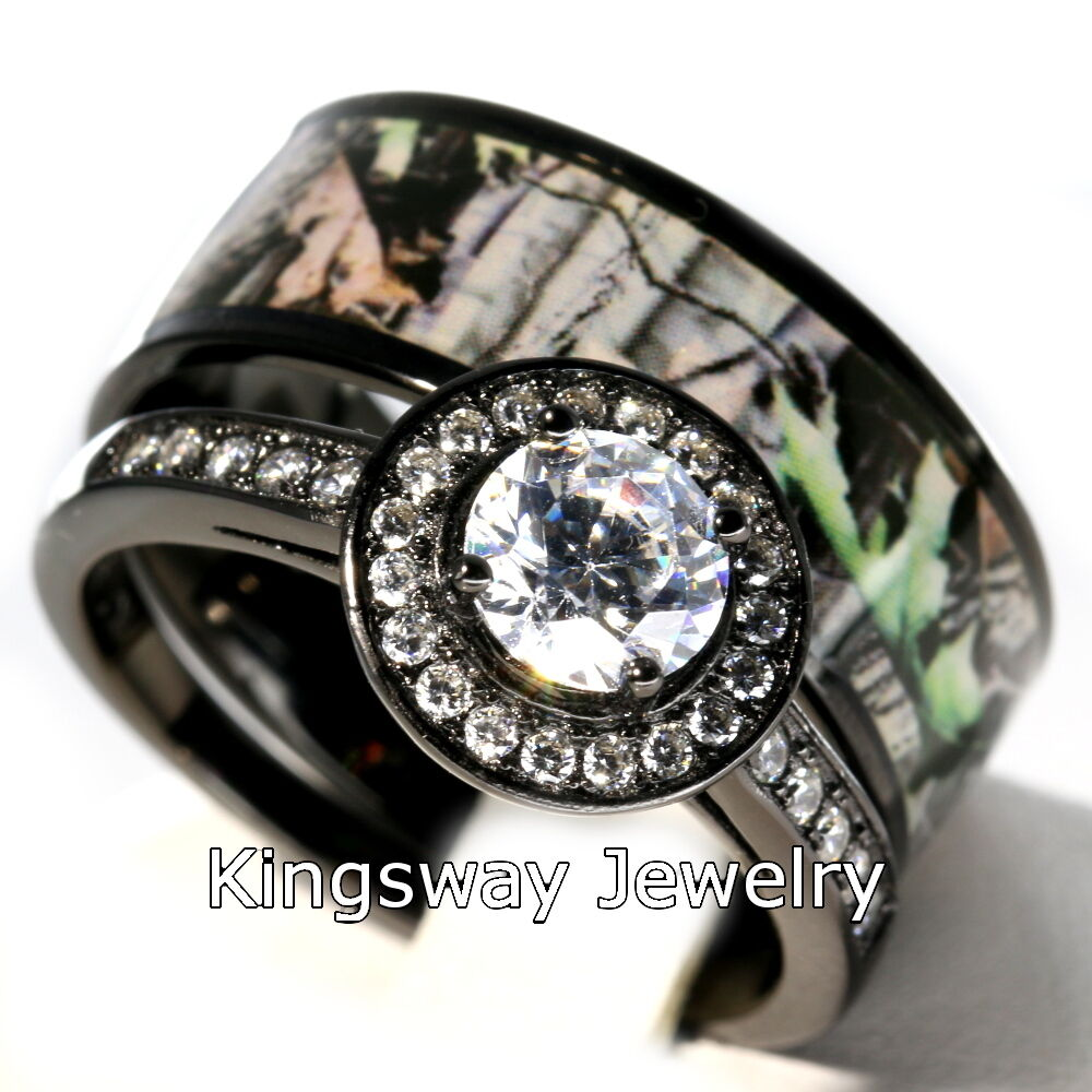 Hers 2 Piece Titanium Camo 925 STERLING SILVER Engagement