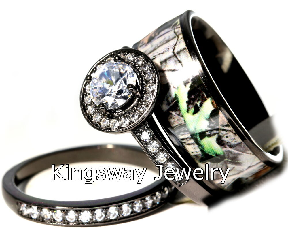 Hers 3 piece titanium camo 925 sterling silver engagement for Camoflauge wedding rings