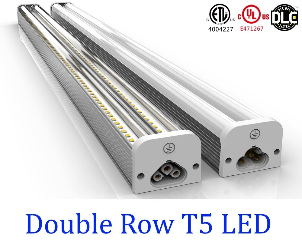 2pcs 4ft double t5 garage basement led integrated clear for Tube led garage