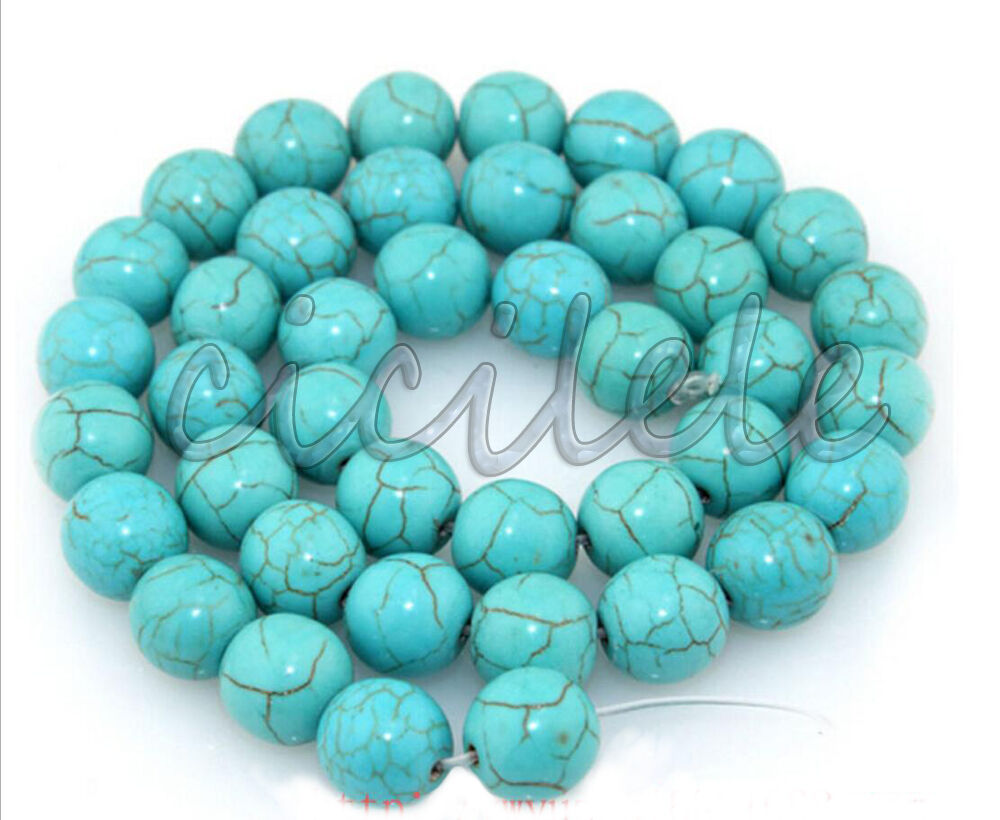 Natural Stone Beads : Natural round blue turquoise jewelry loose gemstone stone