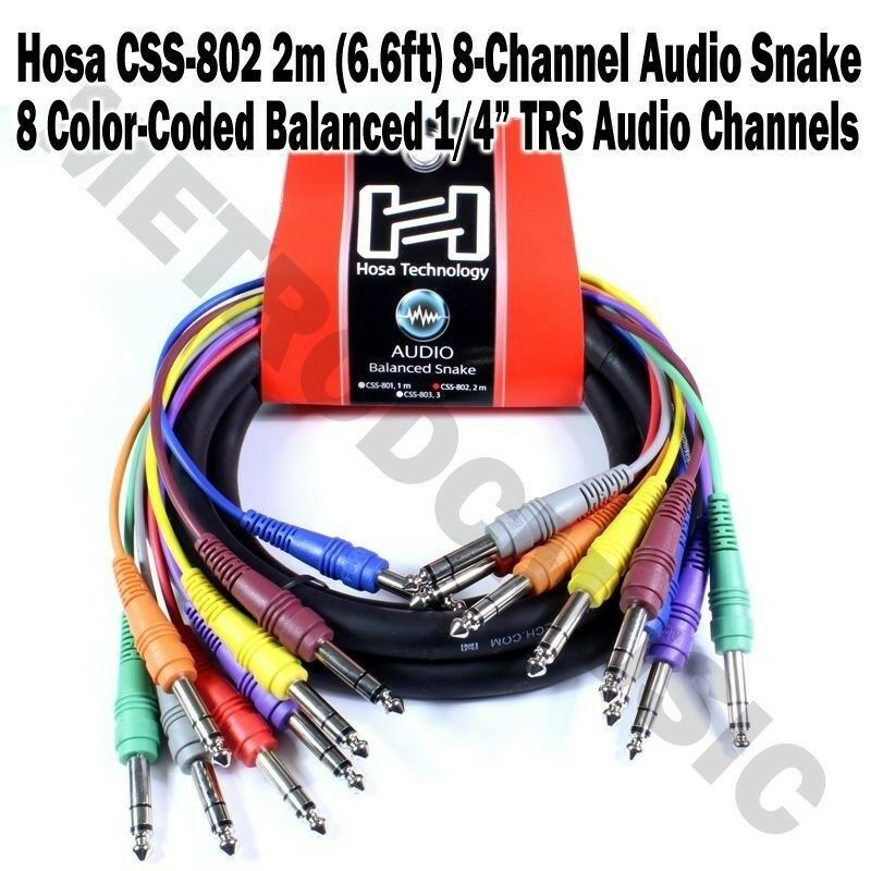 hosa css 802 2m 8 channel balanced audio snake cable stereo male 1 4 trs ebay. Black Bedroom Furniture Sets. Home Design Ideas