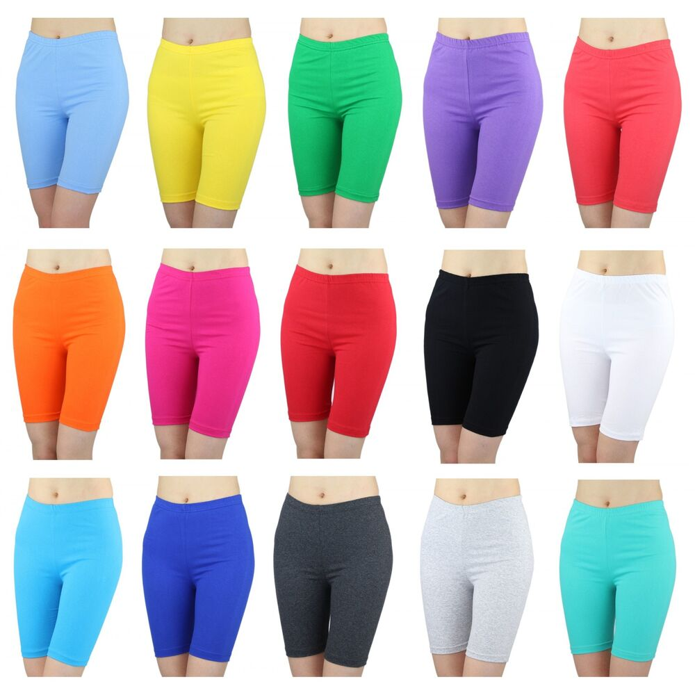 radlerhose damen sport shorts baumwolle hotpants kurze leggings bunte farben ebay. Black Bedroom Furniture Sets. Home Design Ideas