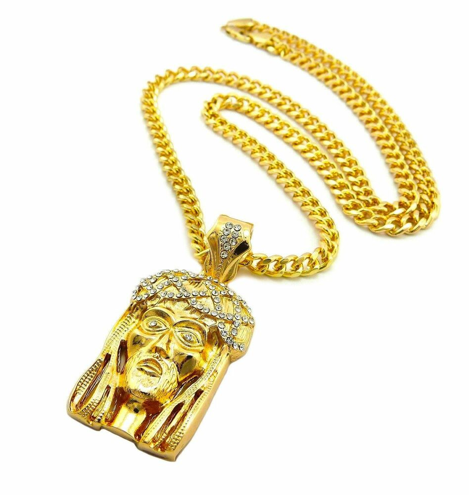 mens hip hop iced out gold god jesus pendant cuban