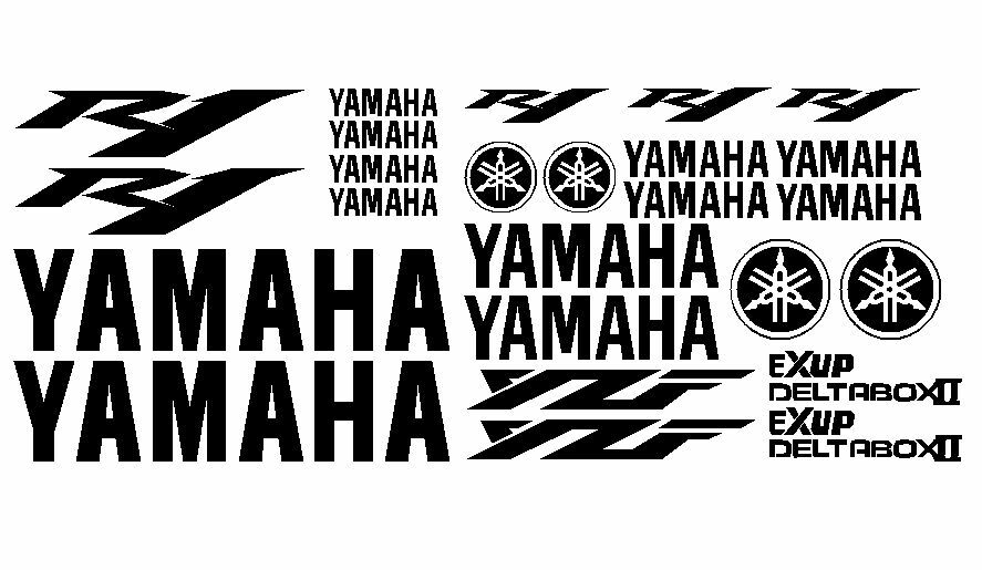 yamaha r1 yzf 25 piece decal stickers kit ebay. Black Bedroom Furniture Sets. Home Design Ideas
