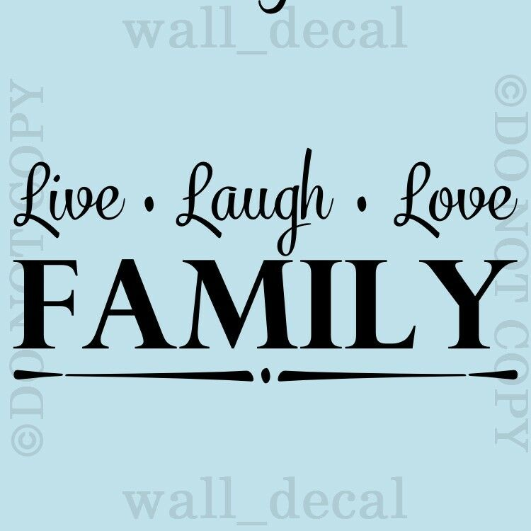 Live laugh love family wall quote vinyl decal decor for Mural lettering