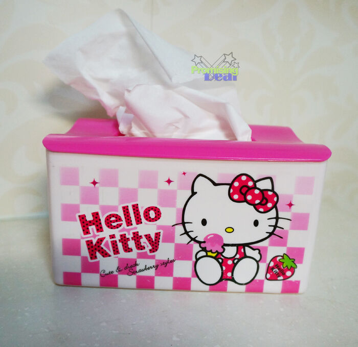 Cute Hello Kitty Bedroom Bathroom Car Tissue Kleenex Box