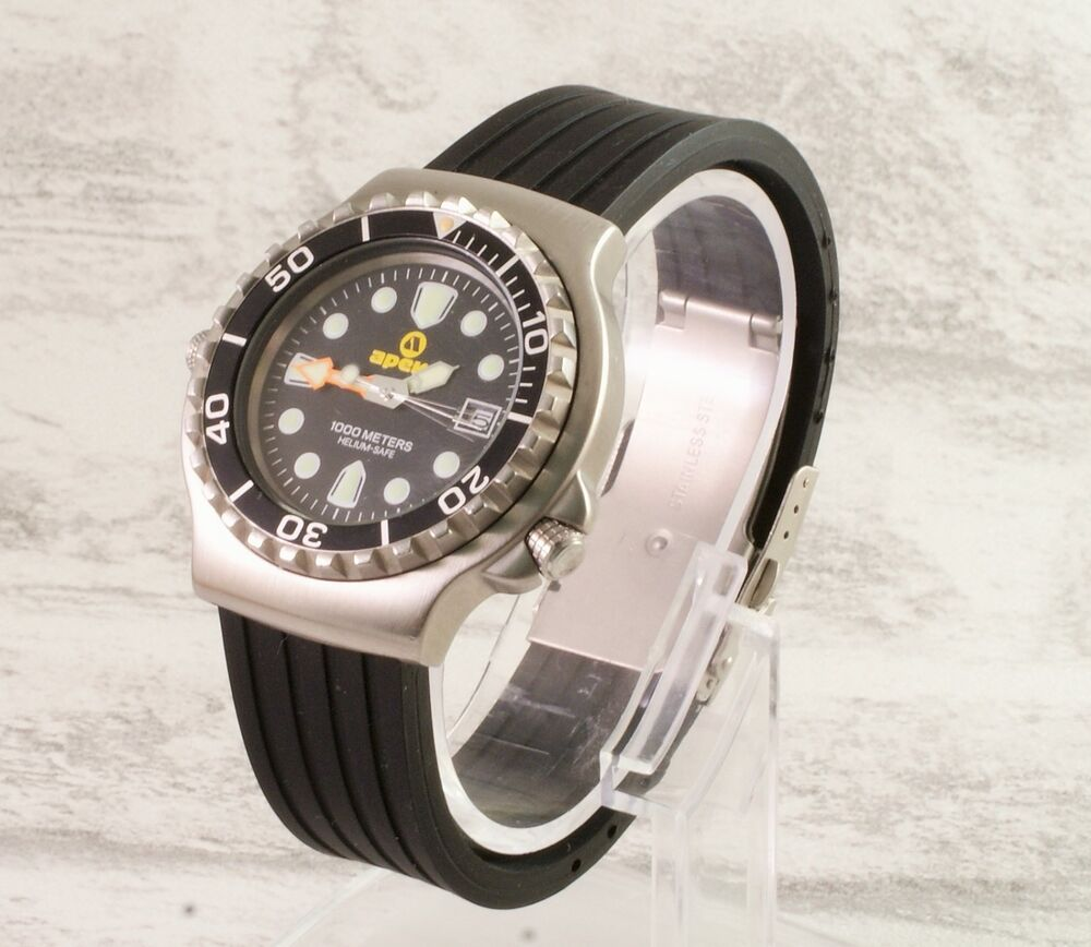 Silicone rubber deployment clasp divers watch strap free pins and tool ebay for Rubber watches