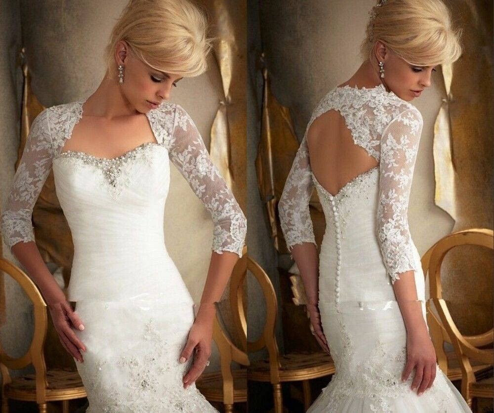 2015 3 4 sleeve backless white ivory lace wedding jacket for Wedding dress with shrug