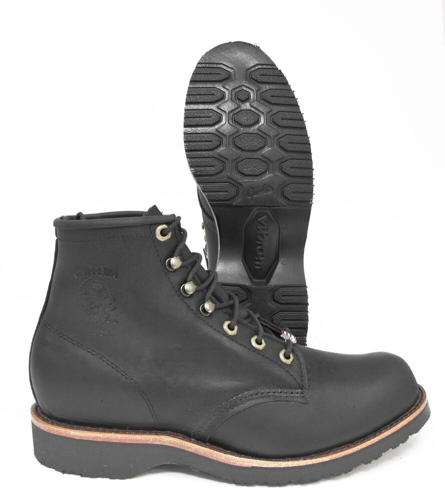 chippewa black odessa leather traditional lace up work