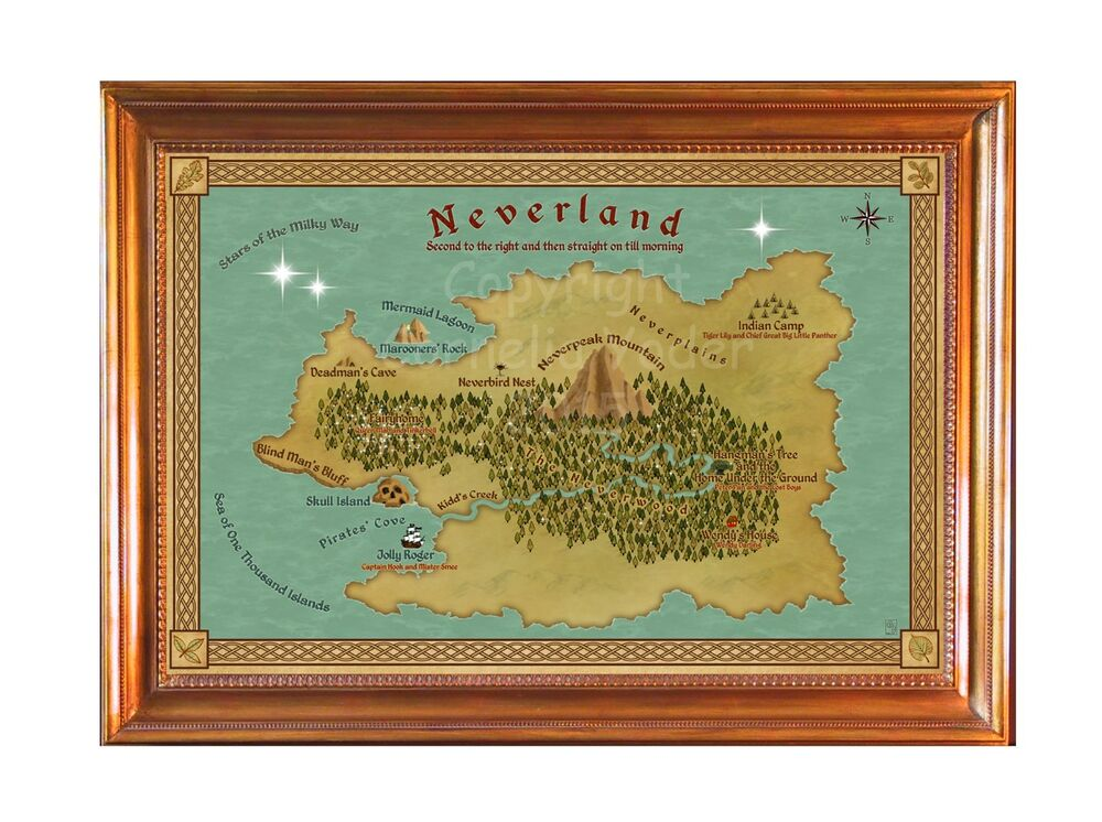 Map of Neverland, based on Peter Pan by J. M. Barrie, Framed Canvas ...