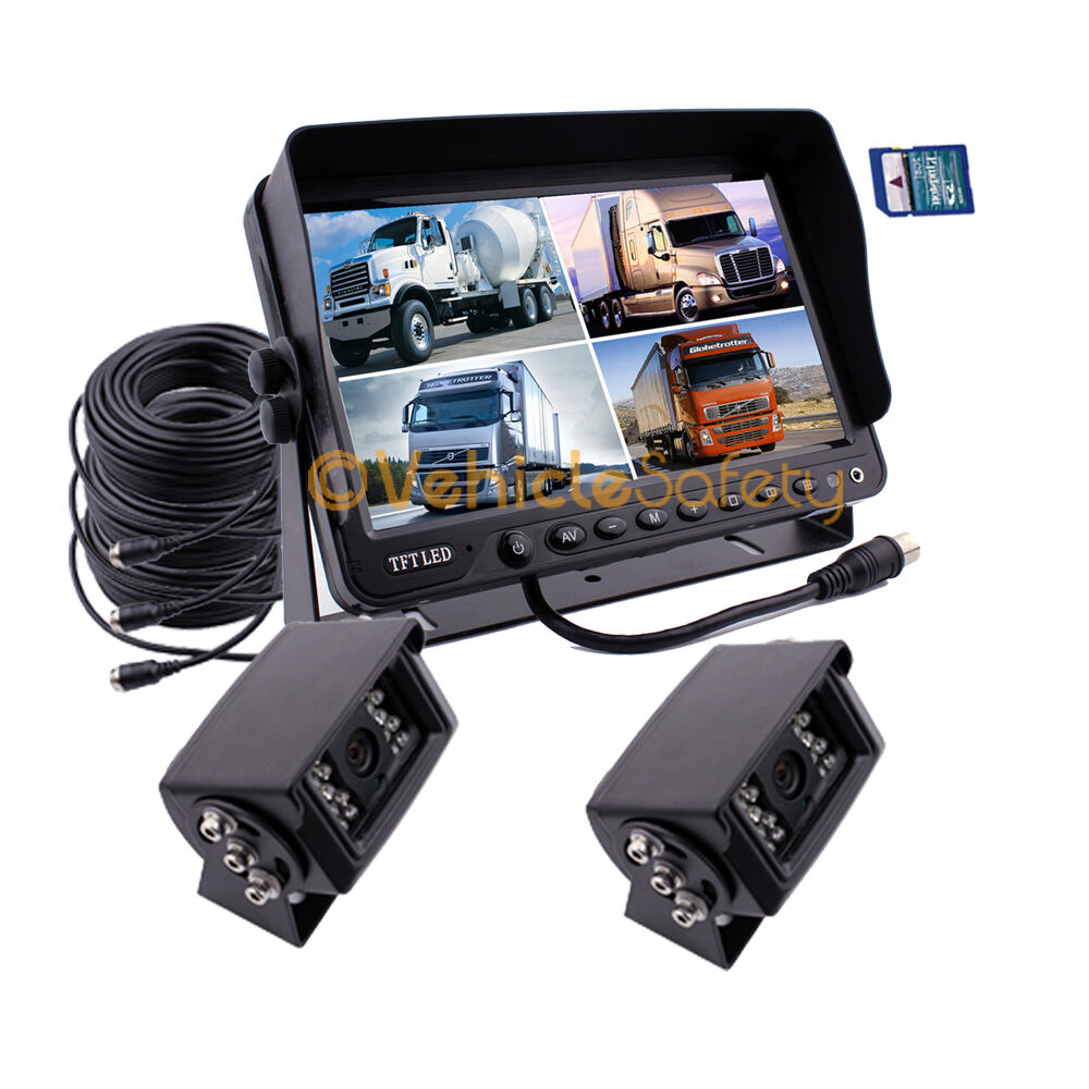 "Rv Backup Camera >> 9"" MONITOR WITH DVR 2x REAR VIEW BACKUP REVERSE CAMERA SYSTEM SAFETY KIT FOR RV 