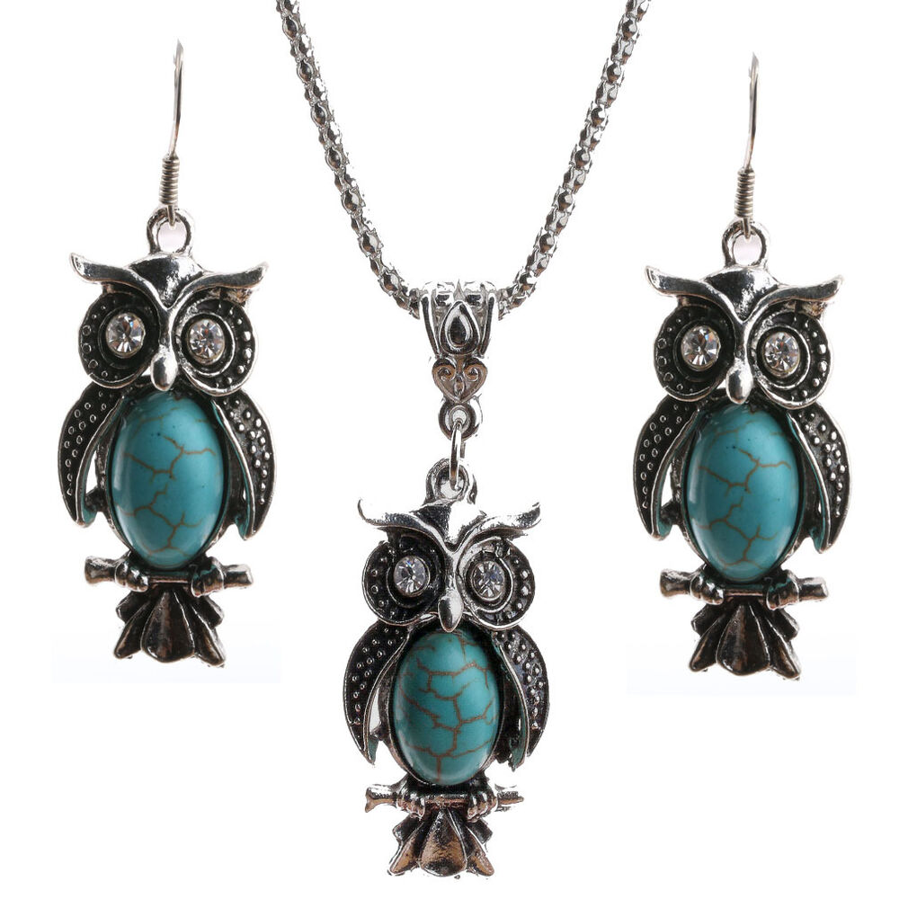 antique owl pendant silver plated turquoise dangle