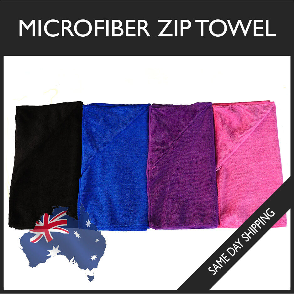 Zip Soft Microfiber Towel: Microfiber Zip Towel Gym Sport Footy Travel Camping