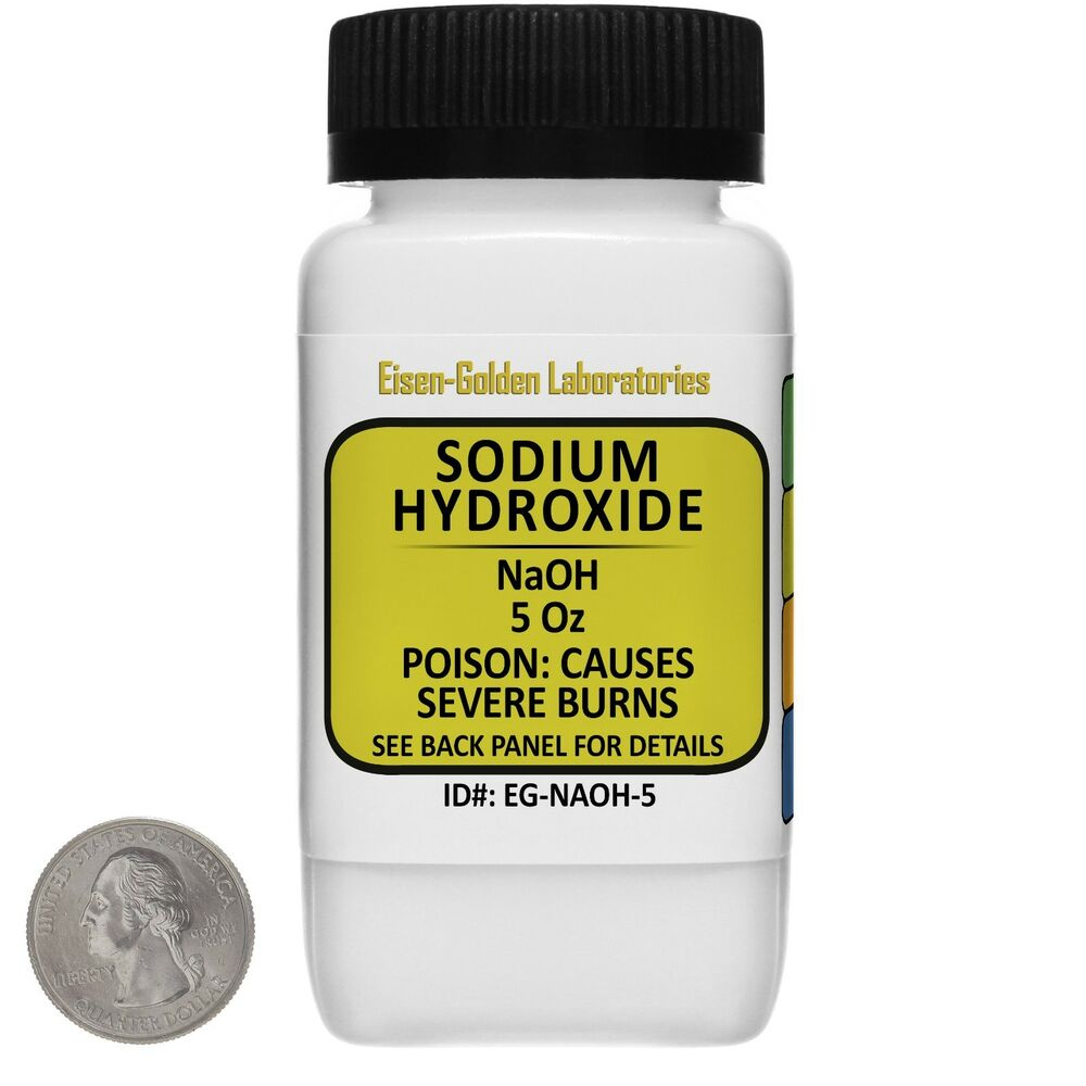 Sodium Hydroxide [NaOH] 99% ACS Grade Powder 5 Oz In An